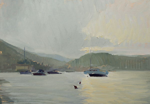 Painting of a storm breaking up on Vis.