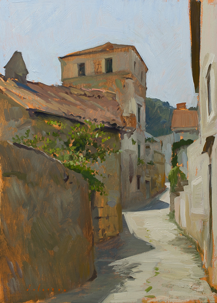 Plein air painting of a street in Vis, Croatia.