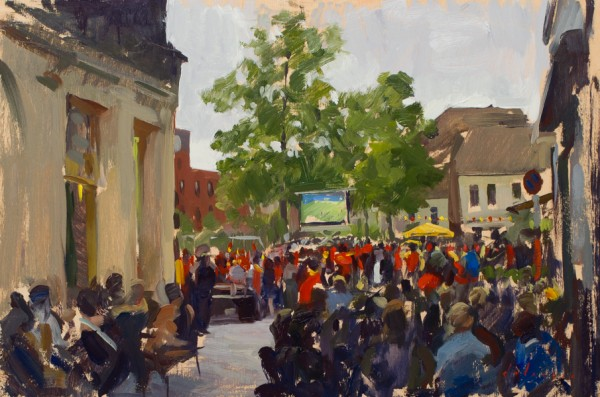 Plein air painting of Red Devils Fans watching the World Cup in Mechelen.