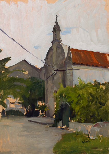 Plein air landscape painting of a church in Broce, Croatia.