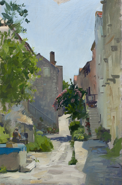 Plein air painting of a BBQ in Mali Ston, Croatia.