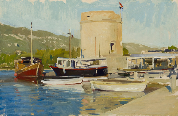 Plein air landscape painting of Mali Ston, Croatia.