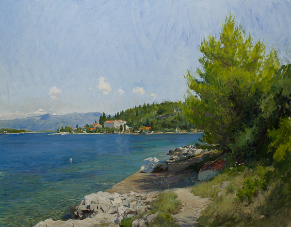 Plein air landscape painting of Vrnik, Croatia.