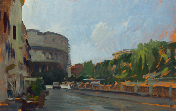 Plein air painting of the Colosseum in Rome.
