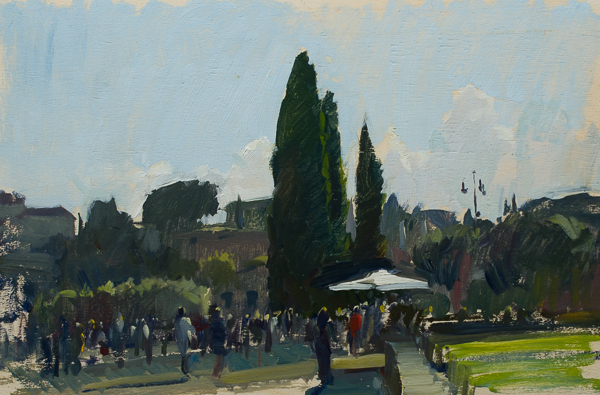 Plein air landscape painting of the entrance to the Colosseum in Rome.