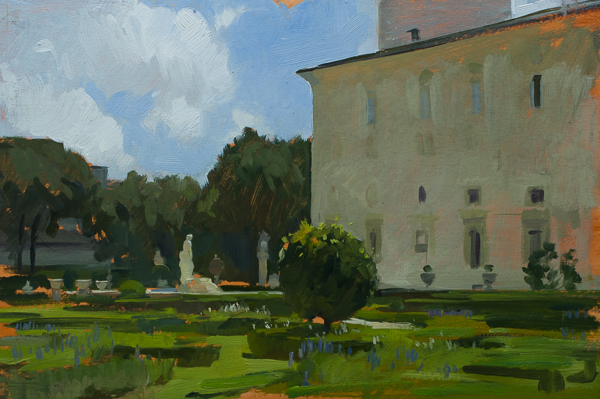 Plein air painting of the gardens of the Villa Borghese in Rome.