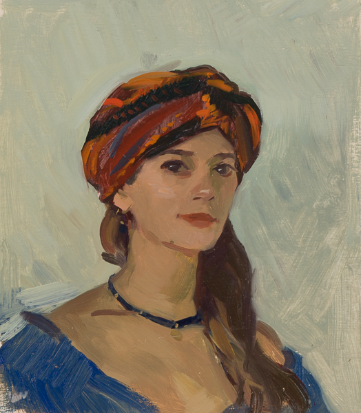 Portrait with Turkish turban from Korcula, Croatia.