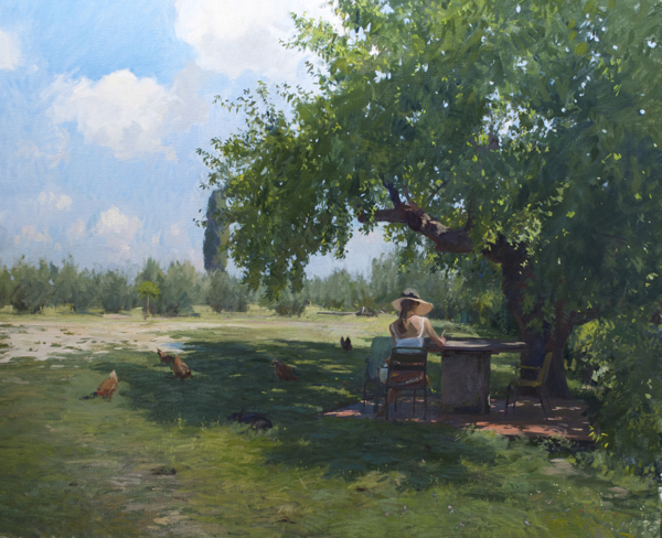 Plein air painting of a mulberry tree in Tuscany.