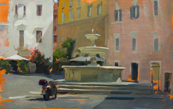 Plein air painting of the piazza dei Monti in Rome.