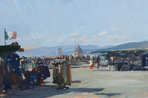 Plein air landscape painting of the Duomo of Florence from Piazza Michelangelo.