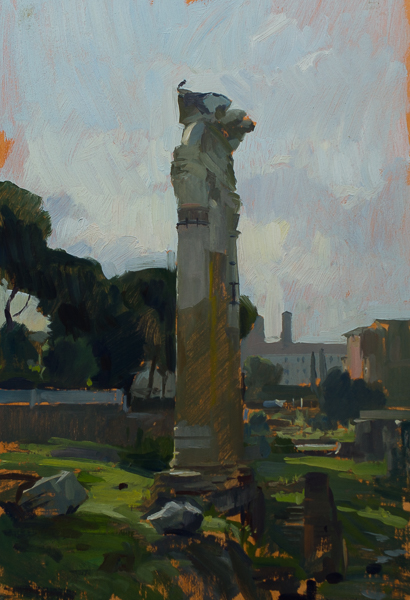 Plein air painting of ruins in the Foro Romano.