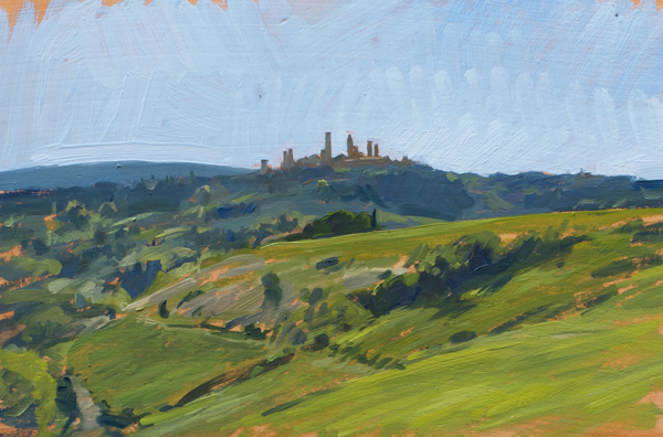 Plein air oil painting of San Gimignano.