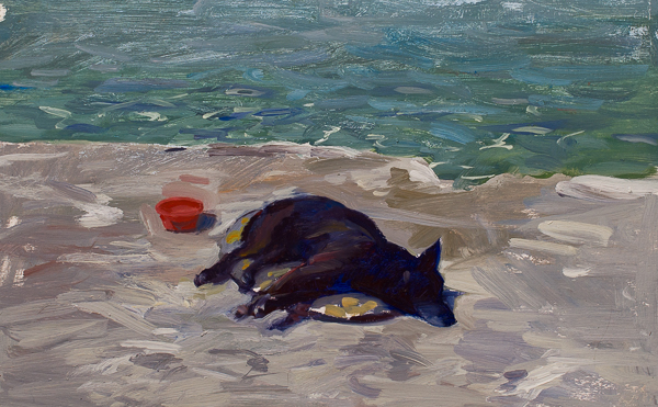 Plein air painting of a sleeping dog.