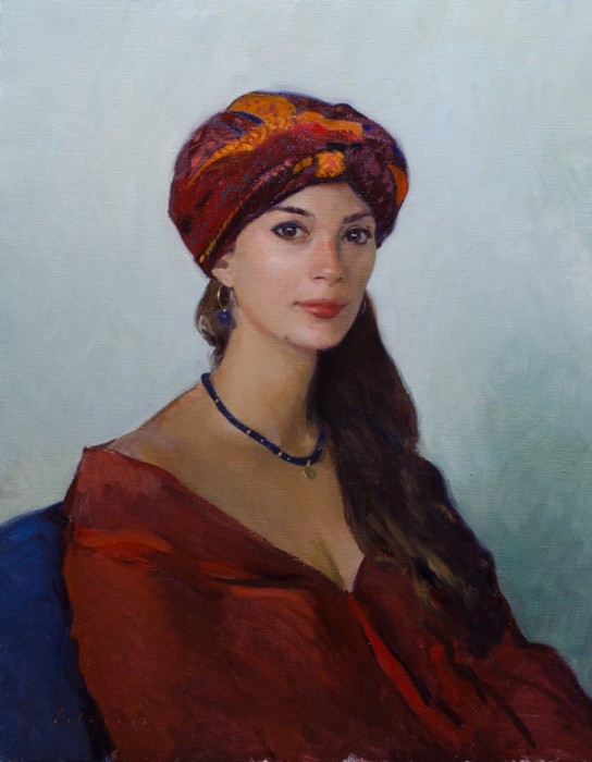 Portrait of my wife wearing a turban.