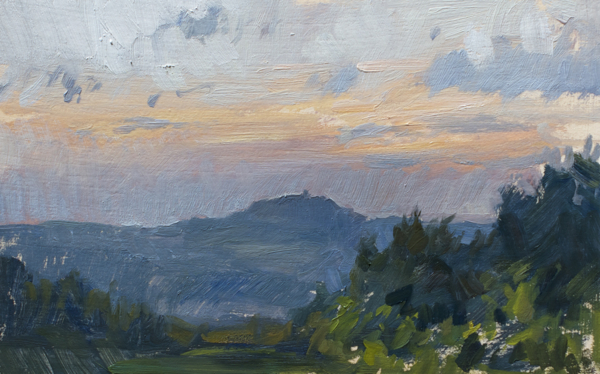 Plein air landscape painting of sunset in Tuscany.