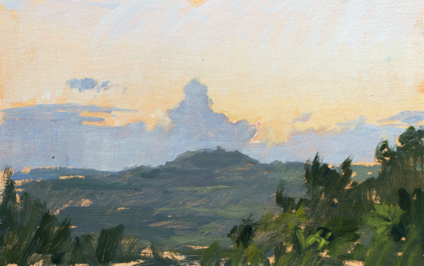 Plein air landscape painting of a Tuscan sunset.