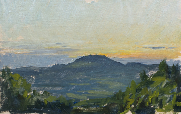 Plein air landscape painting of a sunset near Noce, Tavarnelle val di Pesa.