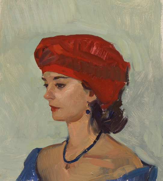 Portrait sketch with turban, painted on Korcula, Croatia.