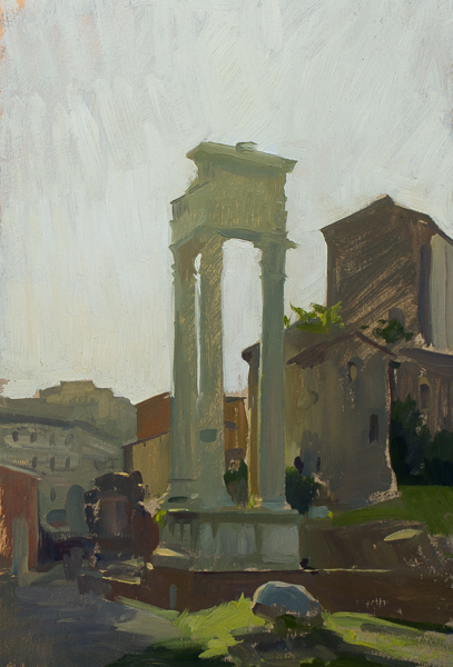 Plein air painting of a Roman ruin in Rome.