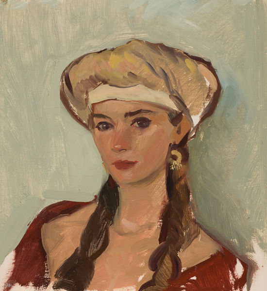 Venetian style turban portrait painting, done on the Croatian island of Korcula.