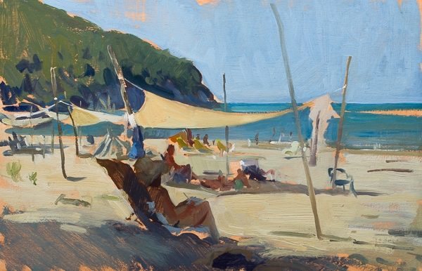 plein air painting of a watercolorist on the beach.