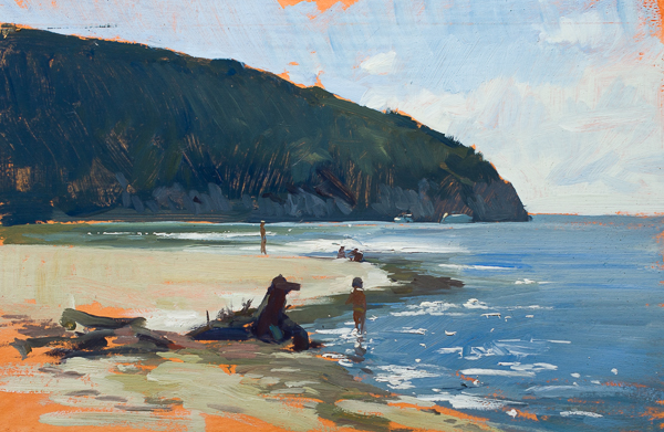 Plein air painting of a kid on the beach, cala di forno.