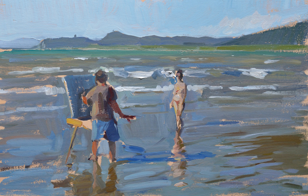 Plein air painting of Ben Fenske painting Beatrice on the beach.