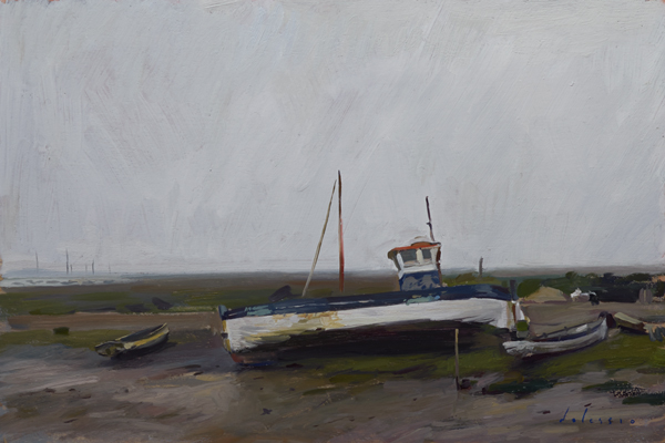 Plein air painting of a boat at low tide, Brancaster Staithe, Norfolk.