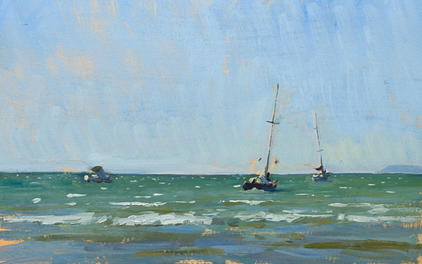 plein air painting of boats in the surf at cala di forno, tuscany.