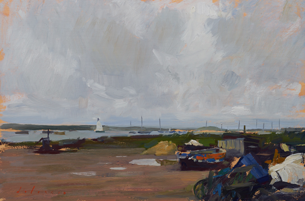 Plein air painting of the sky at Brancaster Staithe, Norfolk.