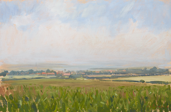 Plein air painting of a cornfield in Norfolk.