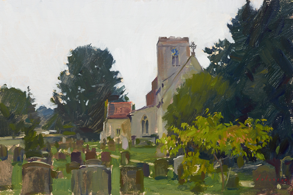 Plein air oil painting of the church at Burnham Market, Norfolk.