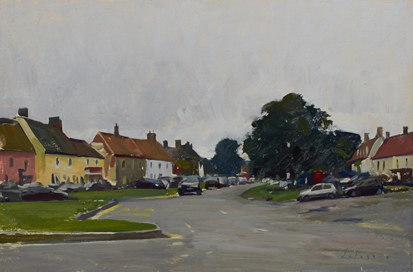 Plein air landscape painting of Burnham Market, Norfolk, UK.