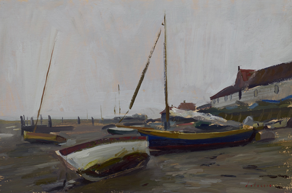 Plein air landscape painting of boats at Burnham Overy Staithe, Norfolk, UK