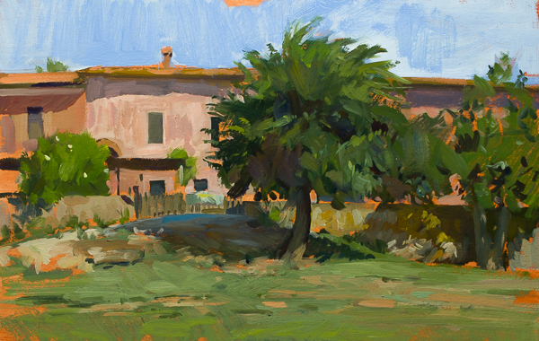 Plein air painting of the houses in Cala di Forno, Italy.