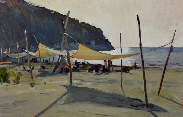 Plein air painting of the beach in the afternoon.