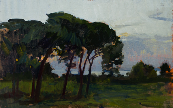Plein air painting of sunset at Cala di Forno, Italy.