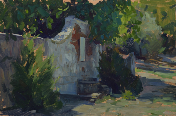 plein air painting of the old well at cala di forno.