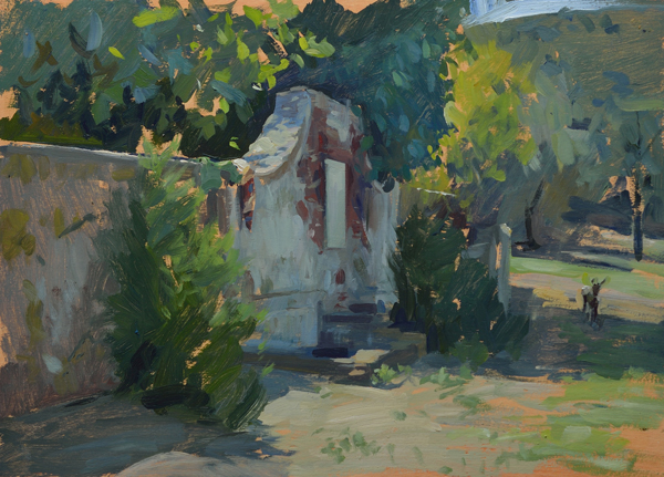 Plein air painting of a deer by the old well in Cala di Forno, Italy.