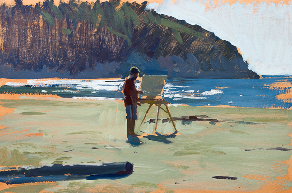 Plein air painting of another painter painting.