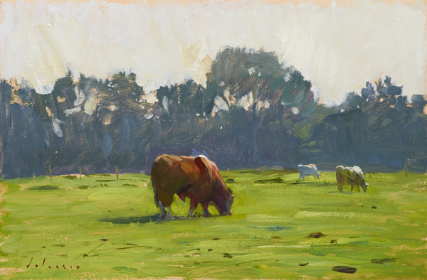 Oil painting of a bull in a field in Norfolk.