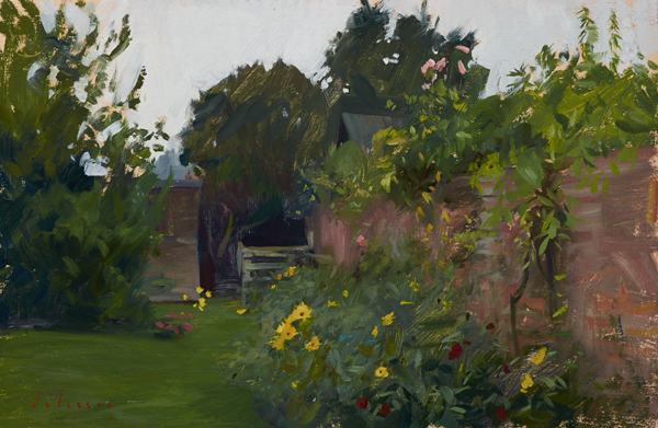 Painting of the garden at Teal Cottage, Burnham Overy Staithe.