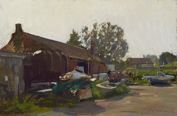 Plein air painting of morning light, Brancaster Staithe, Norfolk.