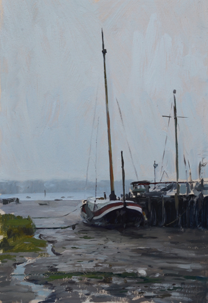Plein air painting of a barge in the fog at Pin Mill, Suffolk.