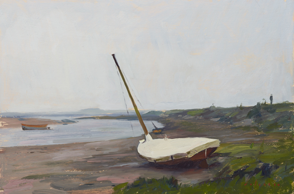 Plein air painting of a sailboat at Burnham Overy Staithe, Norfolk.