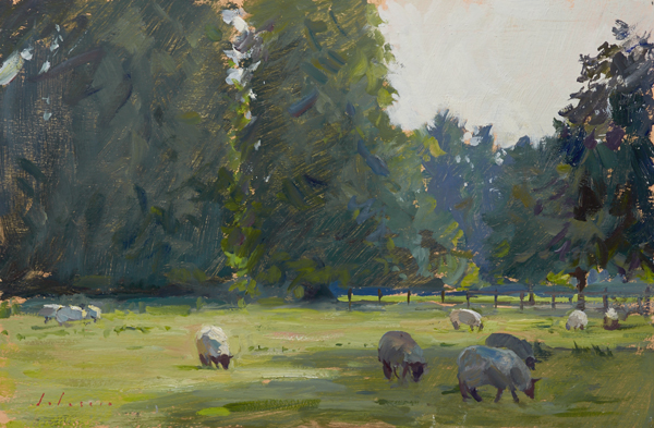 Plein air painting of sheep in a field in Norfolk, England.