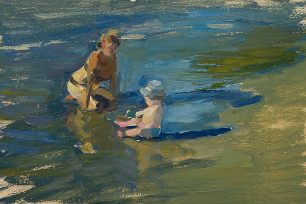 Plein air painting of a mother and child on the beach.