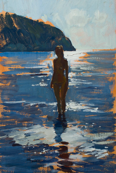 Plein air painting of a woman backlit in the sea.