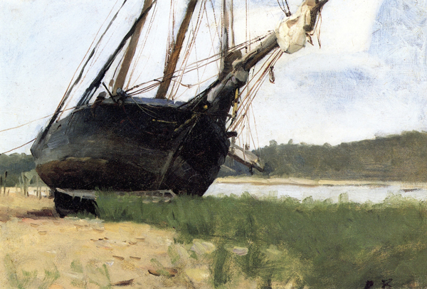 Oil painting by Dennis Miller Bunker of a beached boat.
