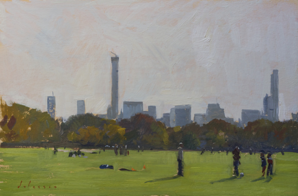 Plein air painting of soccer players in Central Park, NYC